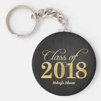 Personalized Elegant Gold Class of 2018 Graduation Keychain