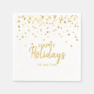 Personalized Elegant Gold Confetti Happy Holidays Paper Napkin
