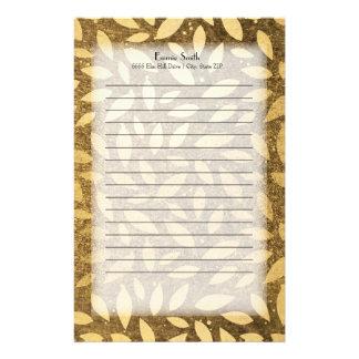 Personalized Elegant Gold Leaves Stationery