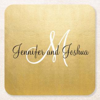 Personalized Elegant Gold Wedding Coasters