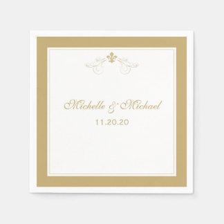 Personalized Elegant Gold White Fleur de Lis Disposable Napkins