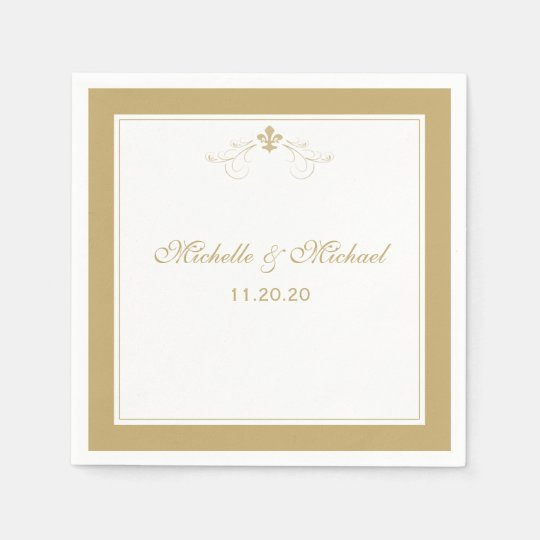 Personalized Elegant Gold White Fleur de Lis Disposable Napkins
