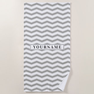 Personalized elegant gray chevron zigzag pattern beach towel