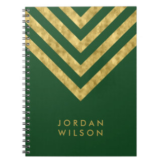 Personalized Elegant Green Faux Gold Chevron Notebooks