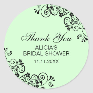 Personalized Elegant Mint Bridal Shower Thank You Classic Round Sticker