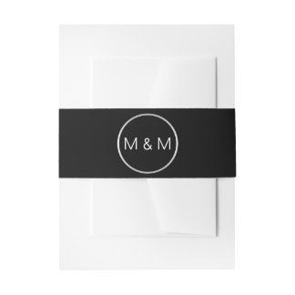 Personalized Elegant Monogram Black Silver Wedding Invitation Belly Band