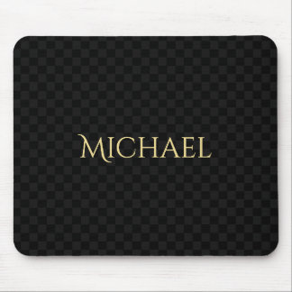 Personalized Elegant Name Black Check Pattern Mouse Pad