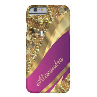 Personalized elegant pink and gold bling barely there iPhone 6 case