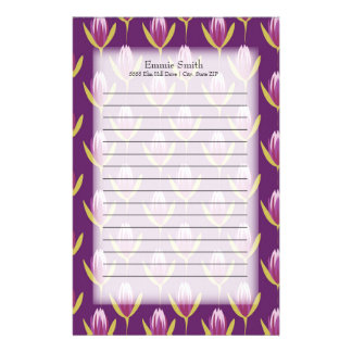 Personalized Elegant Purple and Yellow Floral Stationery
