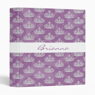 Personalized Elegant Purple Damask Diamond Crown 3 Ring Binders