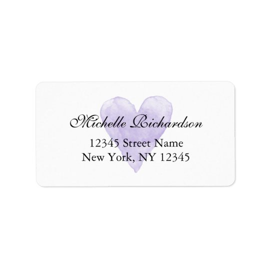 Personalized elegant purple heart address labels