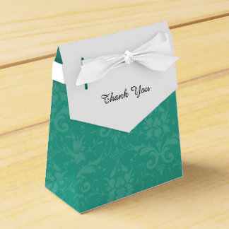 Personalized Elegant Teal and White Damask Favor Box