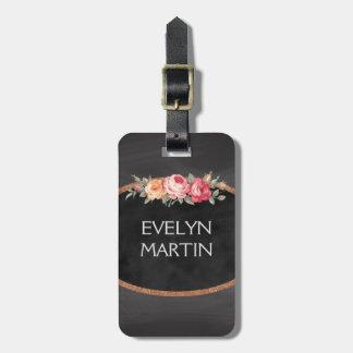Personalized Elegant Vintage Roses Chalkboard Luggage Tag