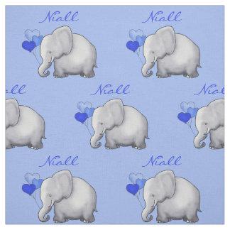 Personalized Elephant Baby Boy Nursery Fabric