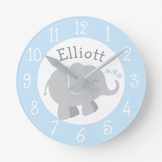 Personalized Elephant Clock | Blue and Grey