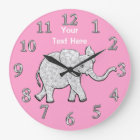 Personalized Elephant Clock Nursery Decor for Girl