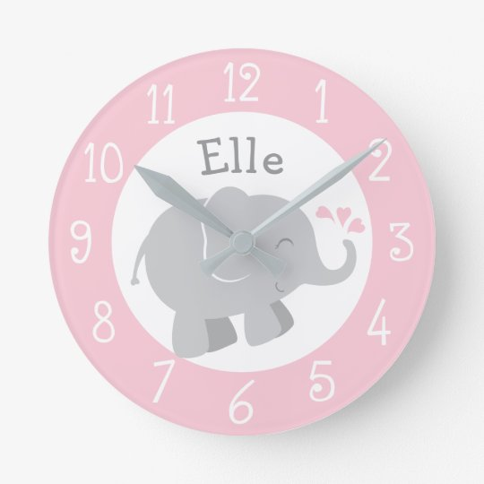 Personalized Elephant Clock | Pink and Grey