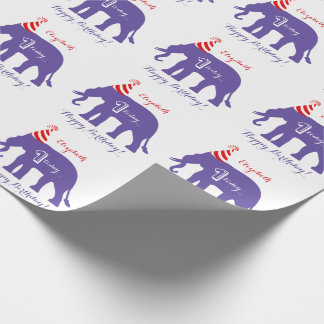 Personalized elephant Happy 1st Birthday Wrapping Paper