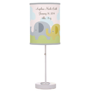 Personalized Elephant Love Baby Nursery Lamp