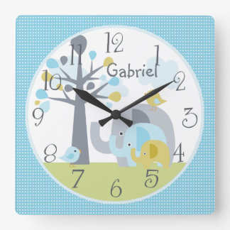 Personalized Elephant Love Elephant Nursery Clock