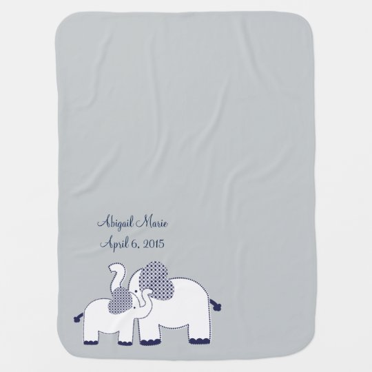 Personalized Elephant's First Love Baby Blanket