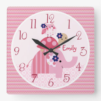 Personalized Ellie/Ella Elephant Stacked Clock