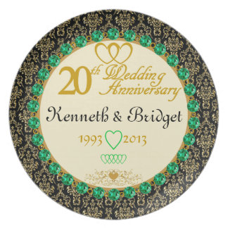 PERSONALIZED Emerald 20th Anniversary Plate