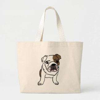Personalized English Bulldog Puppy Large Tote Bag