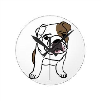 Personalized English Bulldog Puppy Round Clock