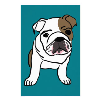 Personalized English Bulldog Puppy Stationery Paper