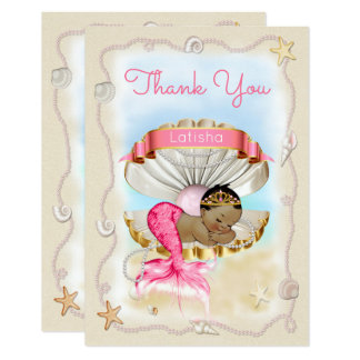 Personalized Ethnic Mermaid Princess Thank You Card