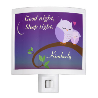 Personalized Evening Owls in Purple Nite Lights