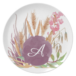 Personalized Fall Wheat Rustic Melamine Plate