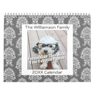 Personalized Family 17 Photo and Colorful Patterns Wall Calendar