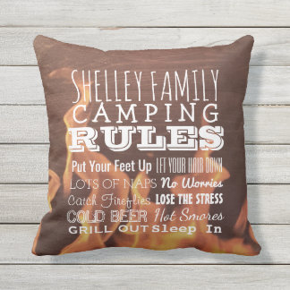 Personalized Family Camping Rules Rustic Outdoor Throw Pillow