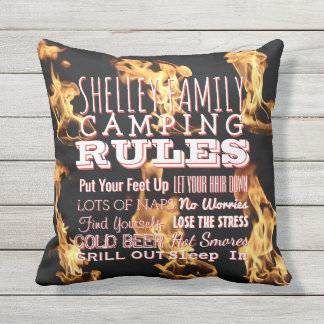 Personalized Family Camping Rules Typography Fire Outdoor Pillow