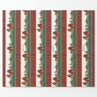 Personalized Family Christmas Cardinal Pine Cone Wrapping Paper