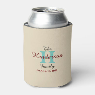 Personalized Family Established - Name & Initial - Can Cooler