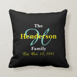 Personalized Family Established - Name & Initial - Throw Pillow