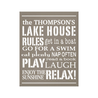 Personalized Family Lake House Rules Brown | White Canvas Print