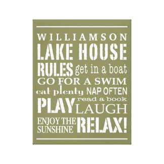 Personalized Family Lake House Rules Green | White Canvas Print