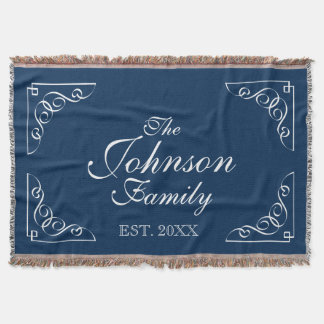 Personalized family last name blue throw blanket