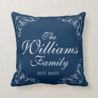 Personalized family last name blue throw pillows