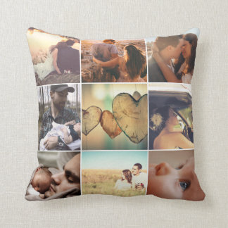 Personalized family memories mosaic throw pillow