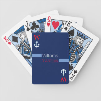 personalized family name | blue nautical poker deck