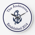 Personalized Family Name Nautical Navy Anchor Large Clock