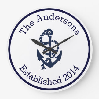 Personalized Family Name Nautical Navy Anchor Wallclock