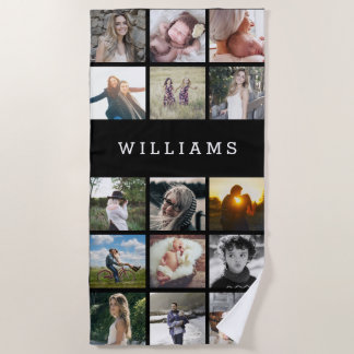 Personalized Family Name Photo Collage Beach Towel