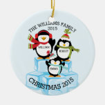 Personalized Family Of 3 Penguins Christmas Round Ceramic Ornament
