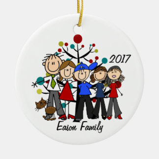 Personalized Family of Five With Brown Cat Ornamen Ceramic Ornament